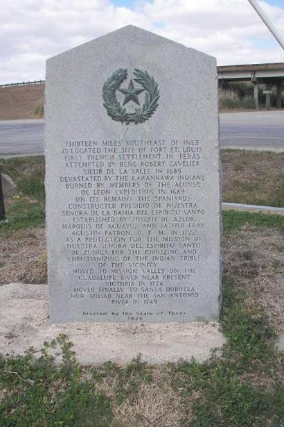 Fort St. Louis centennial marker is in Inez,  Texas