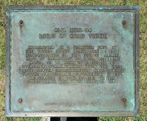 Camp Verde Texas Centennial plaque