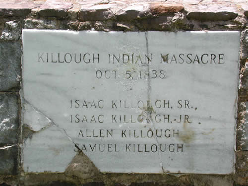 Killough Indian Massacre, October 5, 1838 , marker close up