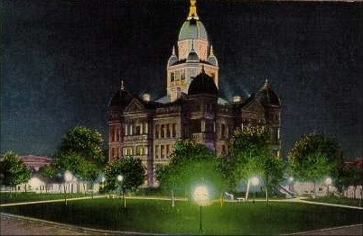 Dentom County Courthouse night view, Denton, Texas