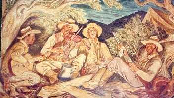 Hamilton Texas Post Office mural of Texas Rangers