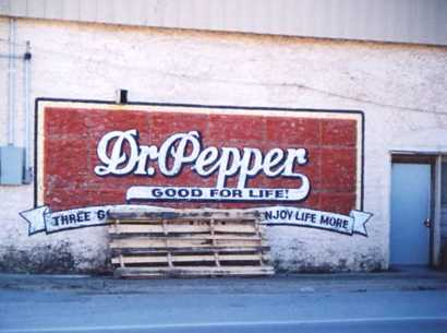 Dr. Pepper Good for Life painted wall sign, Hico Texas