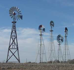 Windmills in Montague, Texas