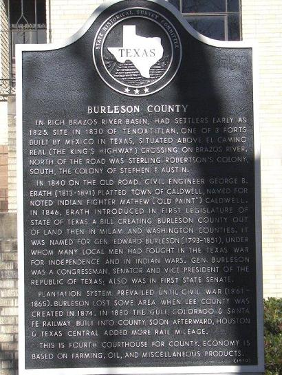 TX - Burleson County Historical Marker
