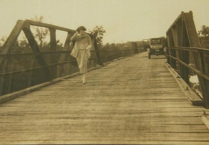 Somerville Tx Vintage Photo Woman On Bridge