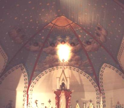 St Mary S Catholic Church Altar And Painted Ceiling Plantersville Texas