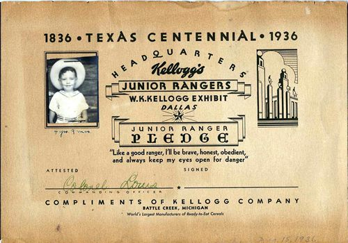 Jim Earl as junior Ranger TX centennial postcard