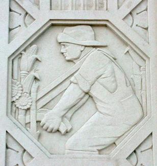 Architectural detail - Man plowing field