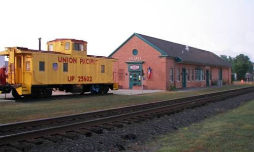Atlanta Texas depot and Union Pacific  caboose
