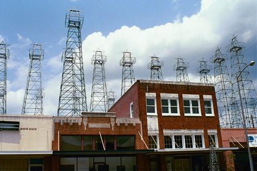 Downtown Kilgore And Oil Derricks