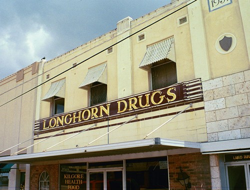 Longhorn Drugs old neon sign in Kilgore, Texas