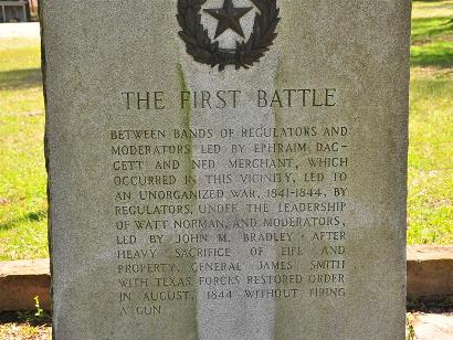 First Battle - Regulators Moderators War, Texas Centennial Marker text close up
