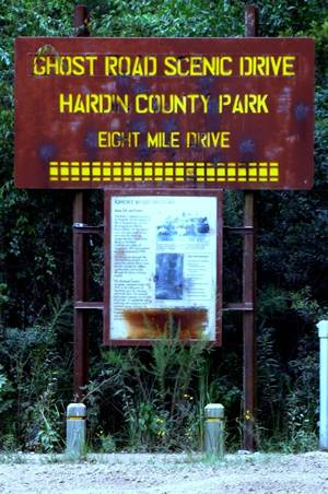 Ghost Road Scenic Drive Hardin County Park  Sign