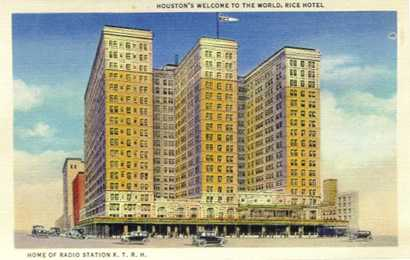 Houston TX - Rice Hotel old post card