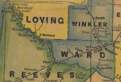 Winkler County,Texas 1940s old map