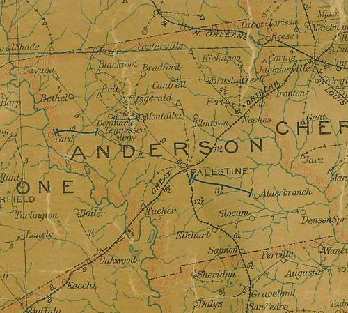 TX - Anderson County  1907 Postal Map