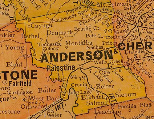 Anderson  county TX 1920s map