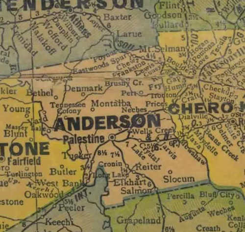 Anderson  county TX 1940s map