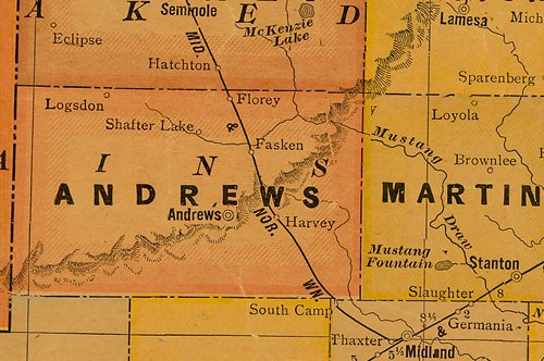TX  Andrews County 1920s Map