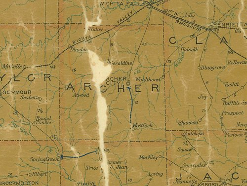 TX - Archer County 1907 postal map