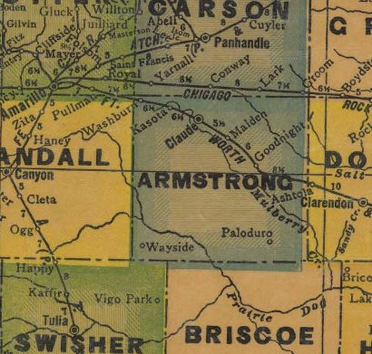 Armstrong County Texas 1940s map