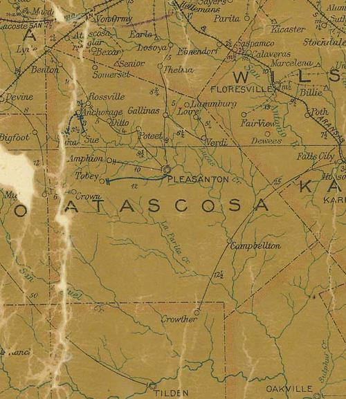 Atascosa County TX 1907 Postal Map