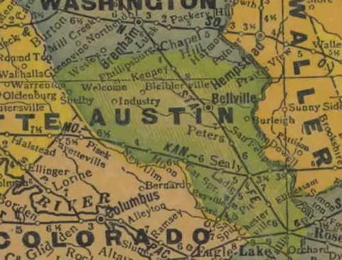 Austin County Texas Map