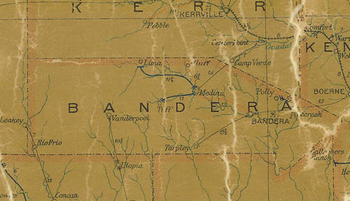 TX Bandera  County 1907 Postal Map
