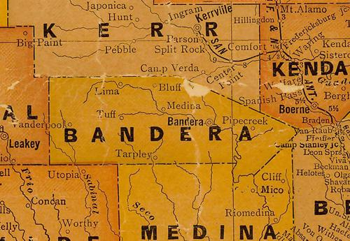Bandera County TX 1920s Map