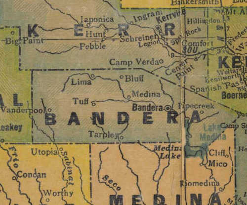 TX Bandera  County 1940s Map