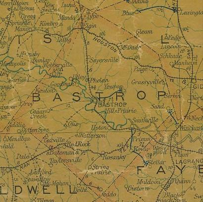 Bastrop County TX 1907 Postal Map