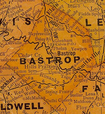 TX Bastrop  County 1920s Map