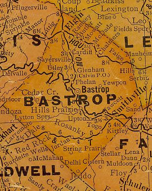 Bastrop CountyT exas 1920s map
