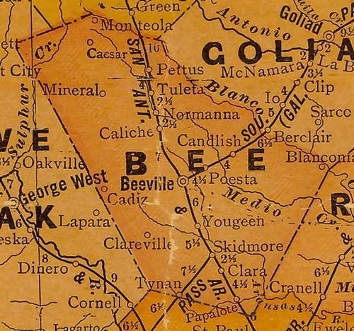 TX Bee County 1920s Map