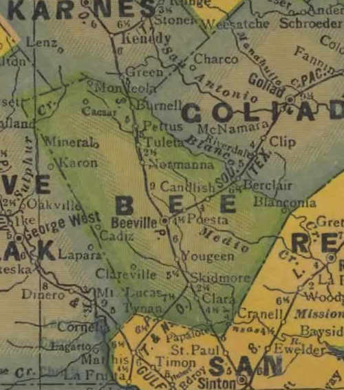 TX Bee County 1940s Map