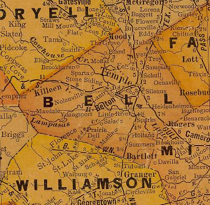 TX Bell County 1920s Map