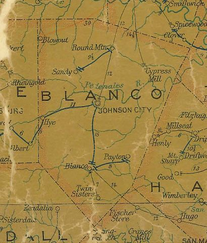 TX Blanco  County 1907 Postal Map