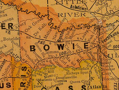 Bowie County Texas 1920s map