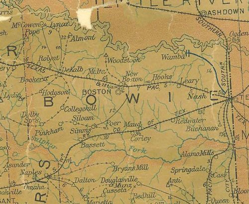 Bowie County Texas 1907 Postal map