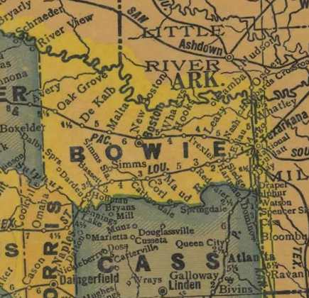 Bowie County Texas 1940s map