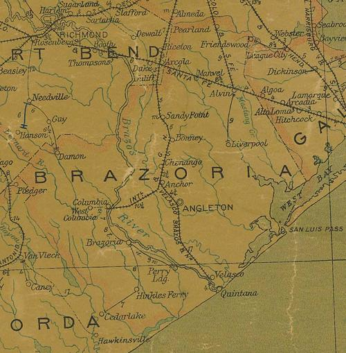 Brazoria County TX old map