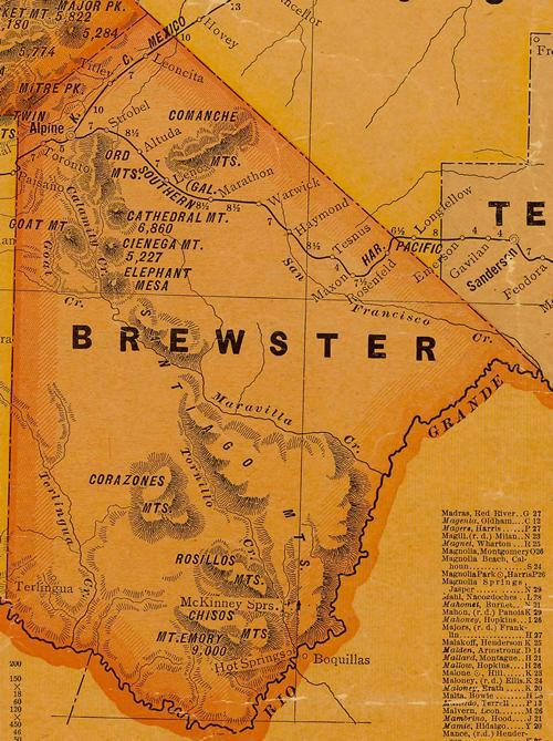 Brewster County TX 1920s Map