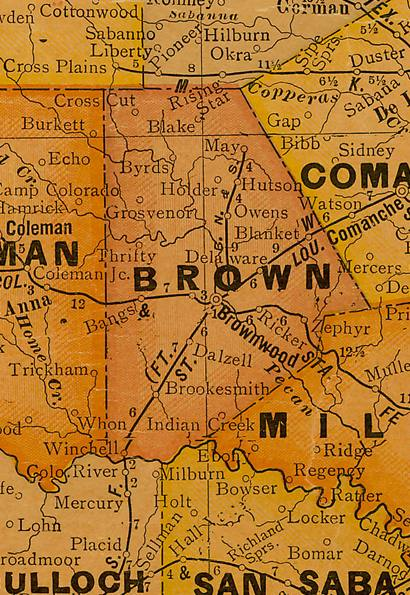 TX Brown County 1920s Map