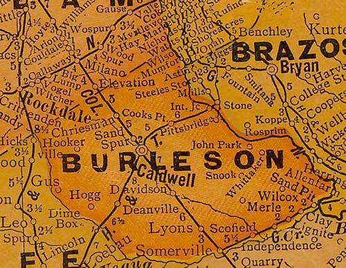 TX Burleson County 1920s Map