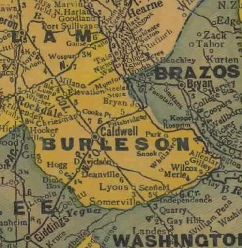 TX Burleson County 1940s Map