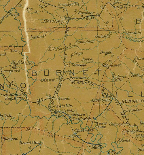 TX Burnet  County 1907 Postal Map