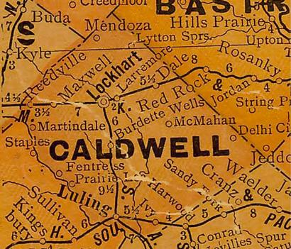 TX Caldwell County 1920s Map