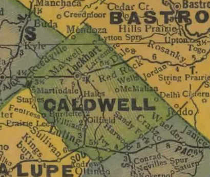 TX Caldwell County 1940s Map