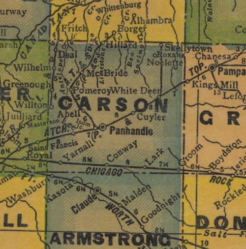 Carson County TX 1940s map