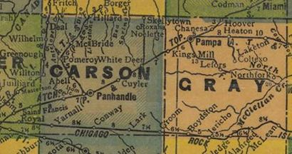 Texas Map - Carson and Gray County 1940s